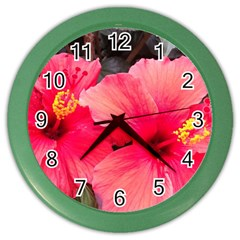 Red Hibiscus Wall Clock (color)