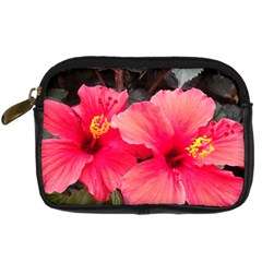 Red Hibiscus Digital Camera Leather Case