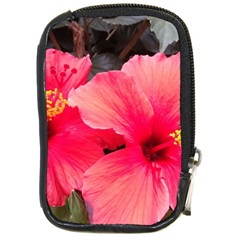 Red Hibiscus Compact Camera Leather Case