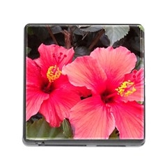 Red Hibiscus Memory Card Reader with Storage (Square)
