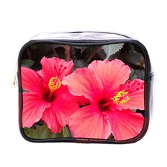 Red Hibiscus Mini Travel Toiletry Bag (One Side)