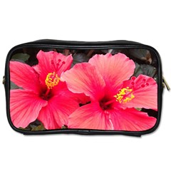 Red Hibiscus Travel Toiletry Bag (one Side)