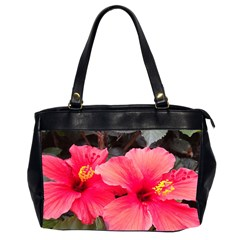 Red Hibiscus Oversize Office Handbag (two Sides)