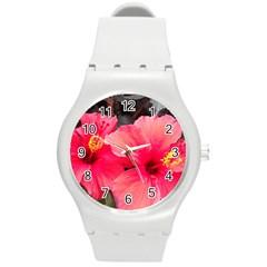 Red Hibiscus Plastic Sport Watch (medium)