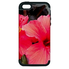 Red Hibiscus Apple Iphone 5 Hardshell Case (pc+silicone)