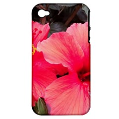 Red Hibiscus Apple iPhone 4/4S Hardshell Case (PC+Silicone)