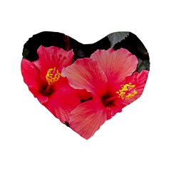 Red Hibiscus 16  Premium Heart Shape Cushion