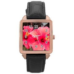 Red Hibiscus Rose Gold Leather Watch