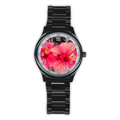 Red Hibiscus Sport Metal Watch (black)