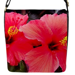 Red Hibiscus Flap Closure Messenger Bag (small)