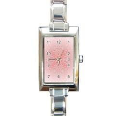 Pink Elegant Damask Rectangular Italian Charm Watch