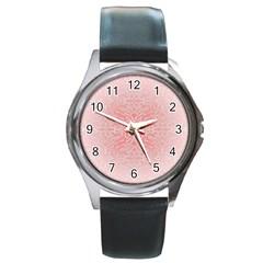 Pink Elegant Damask Round Metal Watch (Silver Rim)