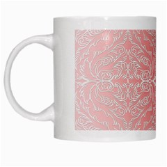 Pink Elegant Damask White Coffee Mug