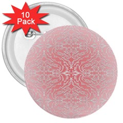 Pink Elegant Damask 3  Button (10 pack)