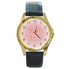 Pink Elegant Damask Round Metal Watch (Gold Rim)