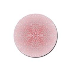 Pink Elegant Damask Drink Coaster (Round)