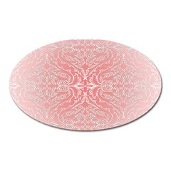 Pink Elegant Damask Magnet (oval)