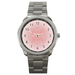 Pink Elegant Damask Sport Metal Watch