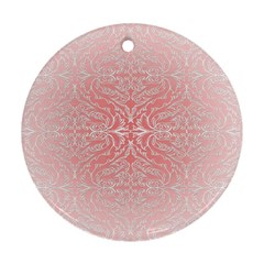 Pink Elegant Damask Round Ornament (Two Sides)