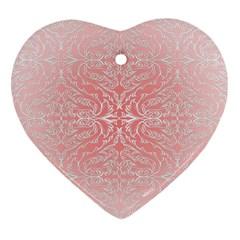 Pink Elegant Damask Heart Ornament (two Sides)