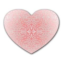 Pink Elegant Damask Mouse Pad (Heart)