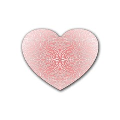 Pink Elegant Damask Drink Coasters (Heart)