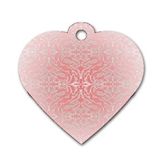 Pink Elegant Damask Dog Tag Heart (Two Sided)
