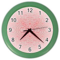 Pink Elegant Damask Wall Clock (Color)