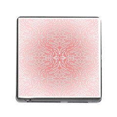 Pink Elegant Damask Memory Card Reader with Storage (Square)