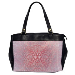 Pink Elegant Damask Oversize Office Handbag (One Side)