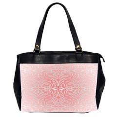 Pink Elegant Damask Oversize Office Handbag (two Sides)