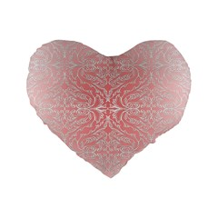 Pink Elegant Damask 16  Premium Heart Shape Cushion