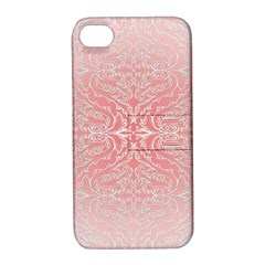 Pink Elegant Damask Apple iPhone 4/4S Hardshell Case with Stand