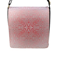 Pink Elegant Damask Flap Closure Messenger Bag (Large)