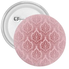 Luxury Pink Damask 3  Button