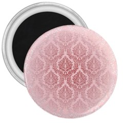 Luxury Pink Damask 3  Button Magnet