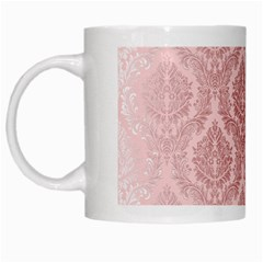 Luxury Pink Damask White Coffee Mug