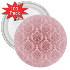 Luxury Pink Damask 3  Button (100 Pack)