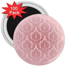 Luxury Pink Damask 3  Button Magnet (100 Pack)
