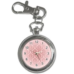 Luxury Pink Damask Key Chain & Watch