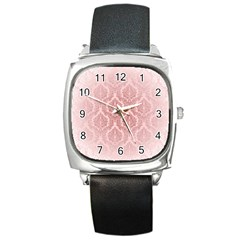 Luxury Pink Damask Square Leather Watch