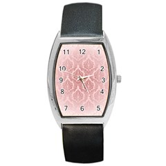 Luxury Pink Damask Tonneau Leather Watch