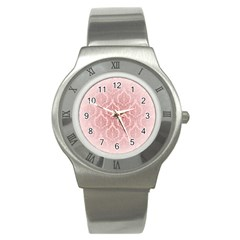 Luxury Pink Damask Stainless Steel Watch (Unisex)