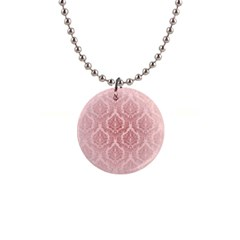 Luxury Pink Damask Button Necklace