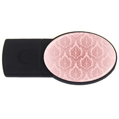 Luxury Pink Damask 4gb Usb Flash Drive (oval)