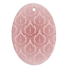 Luxury Pink Damask Oval Ornament (Two Sides)