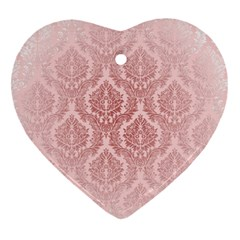 Luxury Pink Damask Heart Ornament (two Sides)