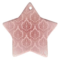 Luxury Pink Damask Star Ornament (two Sides)