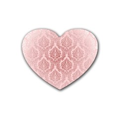 Luxury Pink Damask Drink Coasters (Heart)