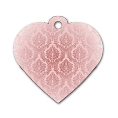 Luxury Pink Damask Dog Tag Heart (One Sided)